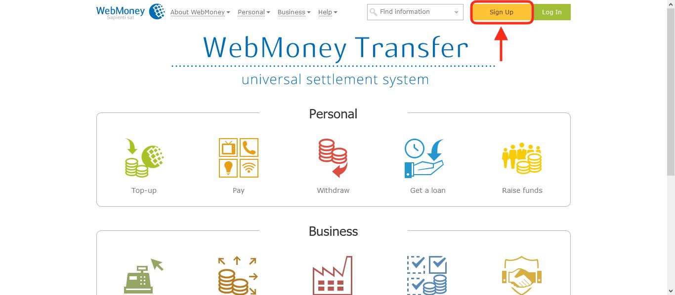 صفحه ورود به وبسایت وب مانی برای ثبت نام