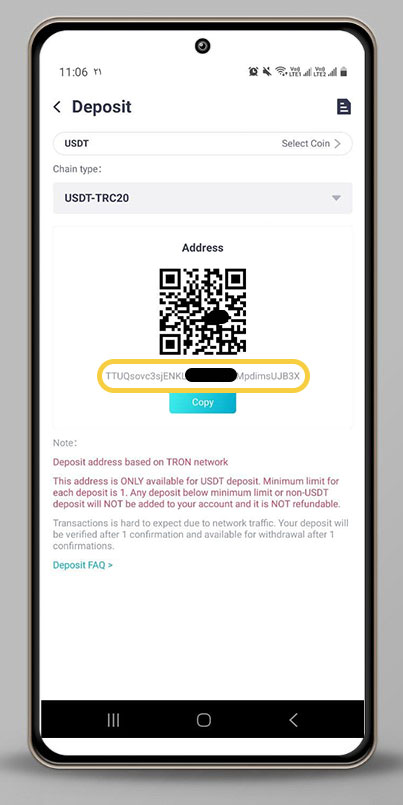 QRcode و آدرس کیف پول برای انتقال تتر به حساب کوینکس