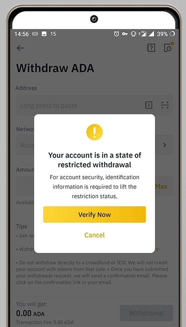 مسدود شدن حساب بایننس و نیاز به احراز هویت