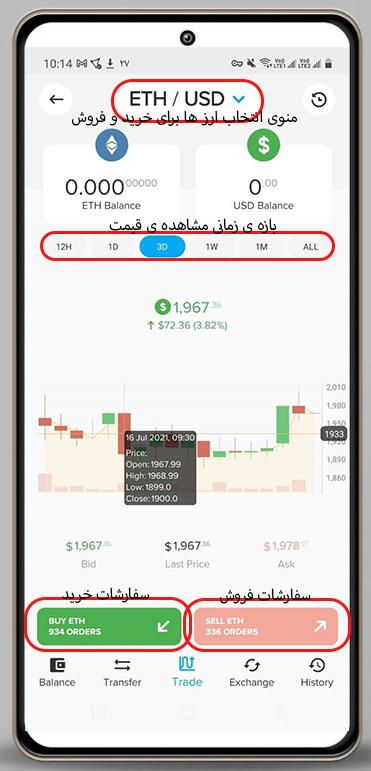 صفحه ی خرید و فروش در نرم افزار پایر
