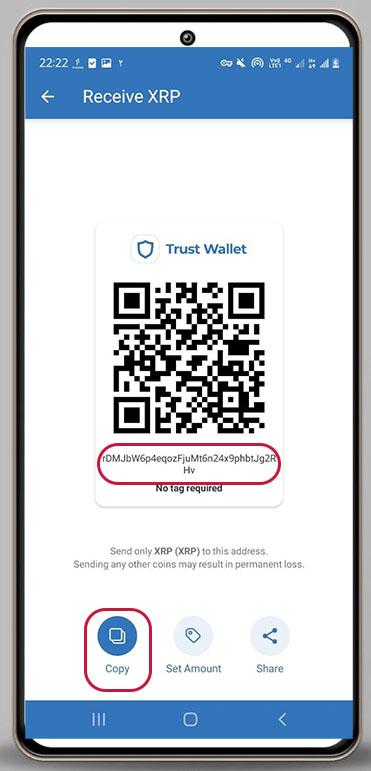 کپی ادرس کیف پول ریپل