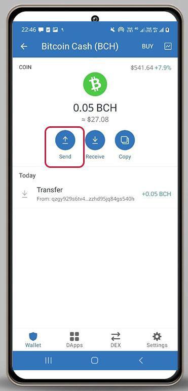 زدن گزینه ی send برای ارسال بیت کوین کش در تراست ولت